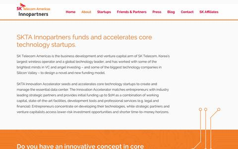 Screenshot of About Page sktainnopartners.com - Overview SK Telecom Americas Innopartners - captured Oct. 3, 2014