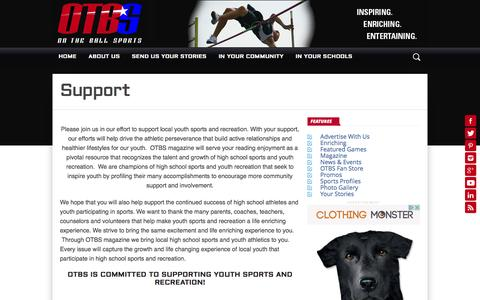 Screenshot of Support Page otbsonline.com - Support – On The Ball Sports - captured Dec. 2, 2016