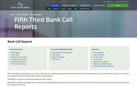 Bank Call Reports | Fifth Third Bancorp