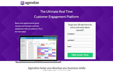 Screenshot of Landing Page agendize.com - Agendize - Free Trial - captured June 13, 2016