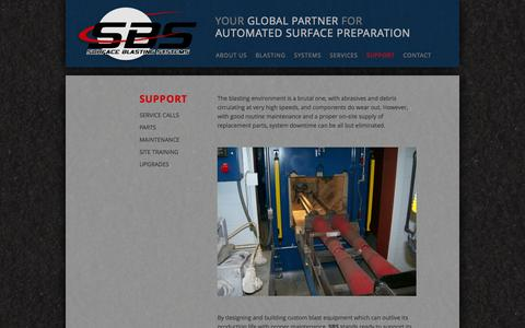 Screenshot of Support Page surface-blasting.com - Support | Surface Blasting Systems - captured Oct. 7, 2014