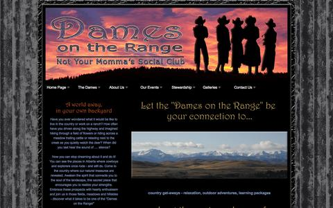 Screenshot of Home Page damesontherange.ca - Dames On the Range: Not Your Momma's Social Club. - captured Sept. 30, 2014