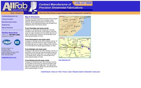 Screenshot of Maps & Directions Page allfabsolutions.com - Sheetmetal fabricating and manufacturing by AllFab Solutions Inc. - captured Feb. 5, 2016