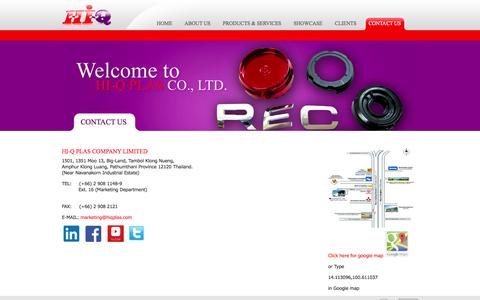 Screenshot of Contact Page hiqplas.com - Contact Us | www.hiqplas.com - captured Oct. 2, 2014