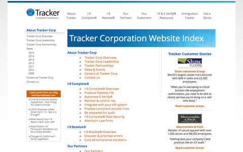 Tracker Corporation Website Index | Tracker Corp
