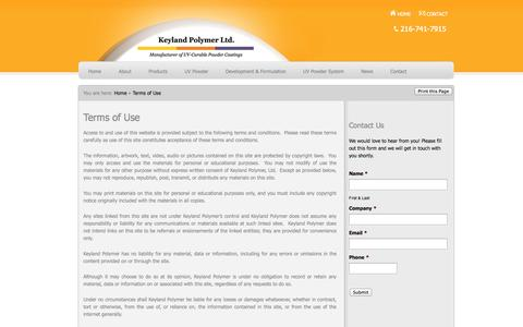 Screenshot of Terms Page keylandpolymer.com - Terms of Use  « Keyland Polymer- UV-Cured Powder Coating - captured Oct. 6, 2014