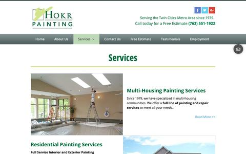 Screenshot of Services Page hokrpainting.com - services - Hokr Painting Inc - Golden Valley, MN - captured Sept. 29, 2018
