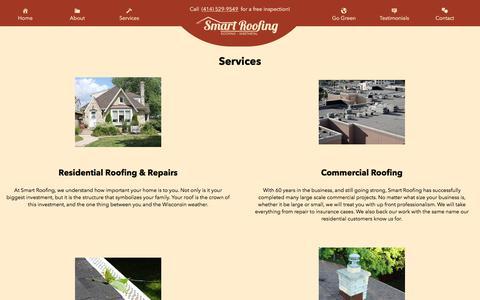 Screenshot of Services Page smartroofingandsheetmetal.com - Services – Smart Roofing - captured Oct. 22, 2017