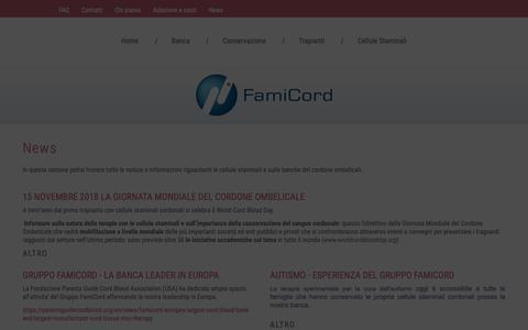 Screenshot of Press Page famicord.it - News sul mondo delle cellule staminali - captured Dec. 9, 2018