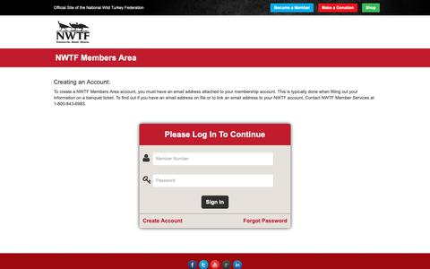 Screenshot of Login Page nwtf.org - NWTF Members Area - captured Oct. 18, 2018