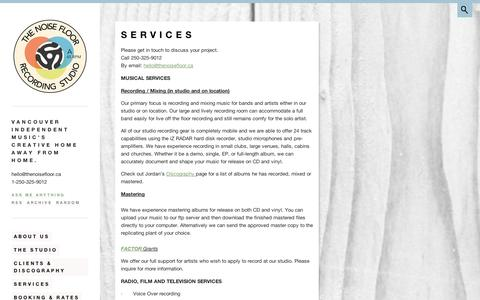 Screenshot of Services Page tumblr.com - Services | THE NOISE FLOOR RECORDING STUDIO - captured Sept. 11, 2014