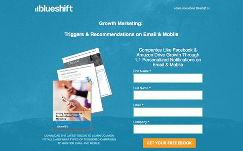 Screenshot of Landing Page getblueshift.com - [ebook] - Scaling Personalized Triggers for Email and Mobile  |  Blueshift - captured Dec. 15, 2016