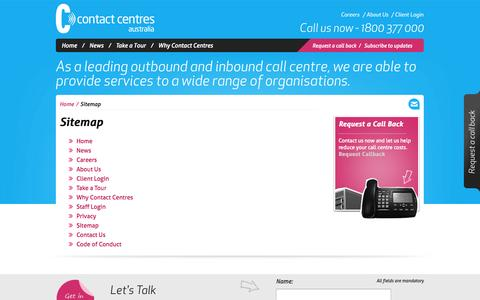 Screenshot of Site Map Page contactcentres.com.au - Sitemap | Contact Centres Australia - captured Oct. 1, 2014