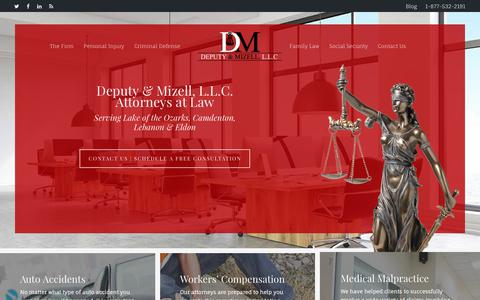 Screenshot of Home Page deputyandmizell.com - Attorneys Lake of the Ozarks, Personal Injury Attorneys Camdenton MO - captured Oct. 12, 2017