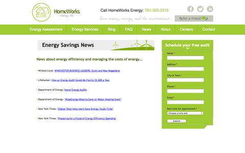 Screenshot of Press Page homeworksenergy.com - Energy Saving News | Homeworks Energy - captured Sept. 30, 2014