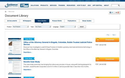 Screenshot of Case Studies Page guidancesoftware.com - Document Library - captured July 18, 2014