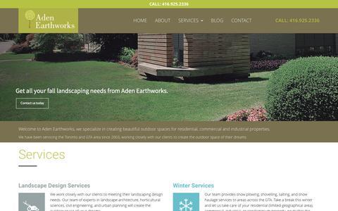 Screenshot of Home Page adenearthworks.com - Aden Earthworks   Landscape Design   Lawn and Garden Care in Toronto - captured Dec. 23, 2015