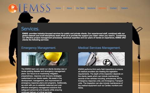 Screenshot of Services Page iemss.ca - International Safety Solutions | Services - captured Nov. 26, 2016