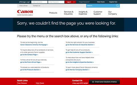 Screenshot of Press Page 404 Page canon.com - 404Error - captured Sept. 25, 2014