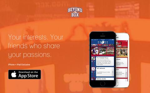 Screenshot of Home Page gobeyondbox.com - Beyond the Box: The social interest graph - captured Sept. 13, 2014