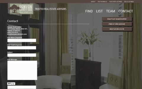 Screenshot of Contact Page banyanrealestate.com - Contact   Banyan Real Estate LLC - captured Feb. 7, 2016