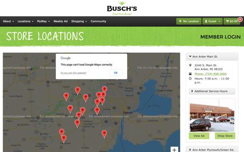 Screenshot of Locations Page buschs.com - Locations - captured Oct. 7, 2018