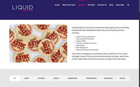 Screenshot of Services Page liquidstudios.co.uk - Services - Liquid Studios - captured Jan. 30, 2016