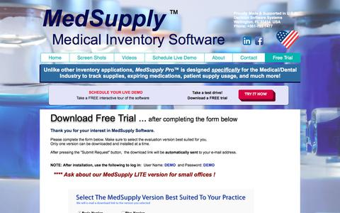 Screenshot of Trial Page medsupplysoftware.com - Medical Inventory Software - captured Jan. 30, 2018