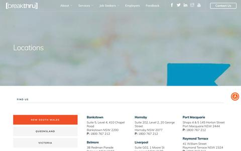 Screenshot of Locations Page breakthru.org.au - Our Office Locations (QLD, NSW & VIC) - breakthru - captured Oct. 6, 2018