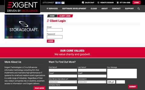 Screenshot of Login Page exigent.net - Client Login | Exigent Technologies - captured Feb. 2, 2016