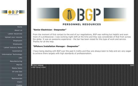 Screenshot of Testimonials Page bgplimited.com - BGP - Testimonials - captured July 27, 2016
