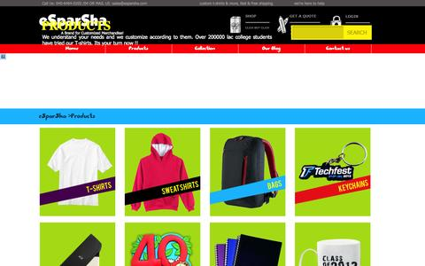 Screenshot of Products Page esparsha.com - Products - captured Sept. 19, 2014