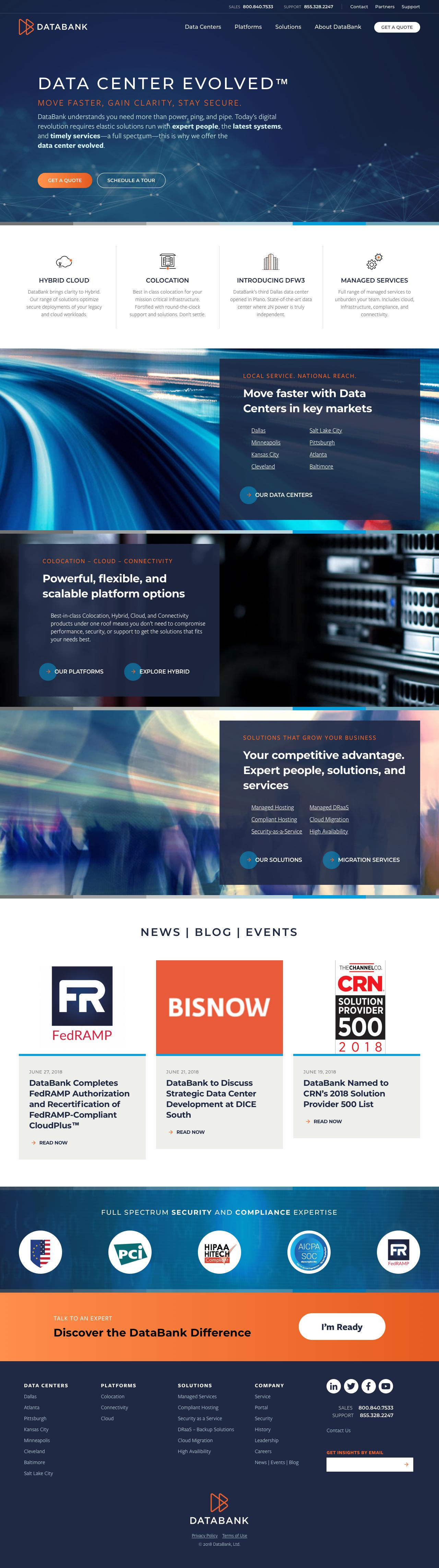 Screenshot of databank.com - DataBank: Colocation, Hybrid, and Connectivity | Data Center Evolved™ - captured June 27, 2018