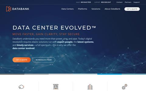 Screenshot of Home Page databank.com - DataBank: Colocation, Hybrid, and Connectivity | Data Center Evolved™ - captured June 27, 2018