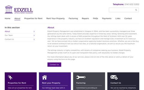 Screenshot of About Page edzellgroup.com - About - Edzell Property Management - captured Jan. 26, 2016
