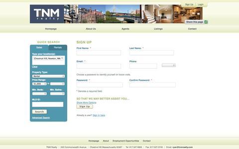 Screenshot of Signup Page tnmrealty.com - Sign Up - captured Sept. 30, 2014