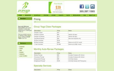 Screenshot of Pricing Page pranoga.com - Pricing - captured Sept. 30, 2014