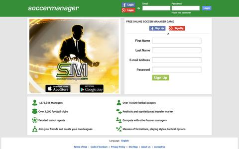 Screenshot of Home Page soccermanager.com - Free online soccer manager game - Soccer Manager - captured Sept. 17, 2014