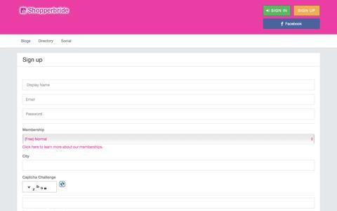 Screenshot of Signup Page shopperbride.com - Sign Up and Start Using  » Bridal Social Networking - captured Sept. 22, 2018