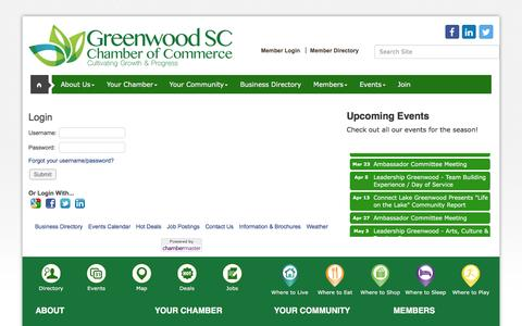 Screenshot of Login Page greenwoodscchamber.org - Login - Greenwood Area Chamber of Commerce, SC - captured Nov. 16, 2016