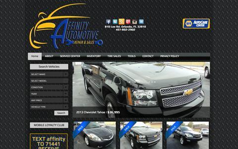 Screenshot of Home Page affinityautomotive.com - Affinity Automotive | Orlando Auto Service | Orlando Auto DealerAffinity Automotive | Orlando Auto Service | Orlando Auto Dealer - captured Sept. 30, 2014