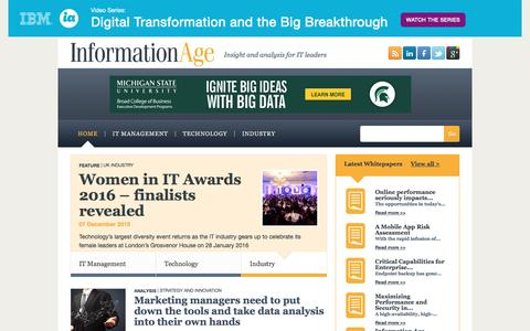 Screenshot of Home Page information-age.com - Information Age - Business technology trends and analysis for IT professionals - captured Jan. 8, 2016
