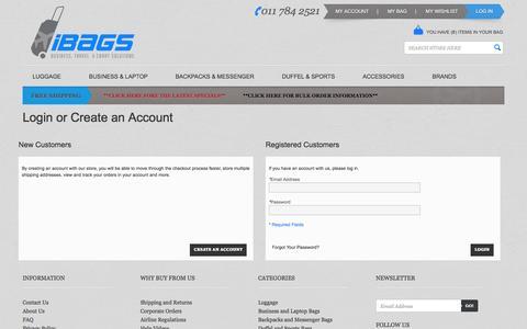 Screenshot of Login Page ibags.co.za - Customer Login  | South Africa - captured Sept. 24, 2014