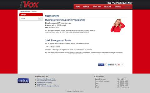 Screenshot of Support Page ivox.com.au - Support - iVox Communications - captured Nov. 3, 2014
