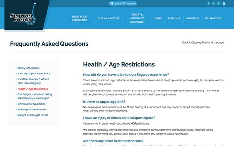 Screenshot of FAQ Page segwayevents.co.uk - Health & Age Restrictions - Segway Experience FAQs - Segway Events - captured Oct. 6, 2017