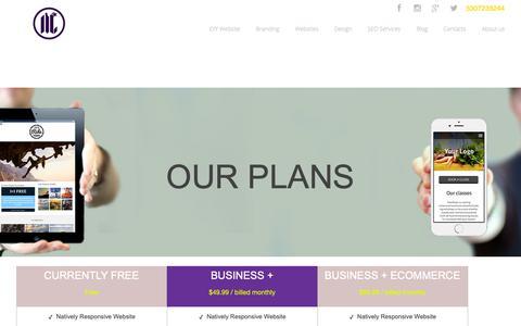 Screenshot of Pricing Page mycalidesigns.com - My Cali Designs - Free Site Creator - captured Nov. 16, 2018