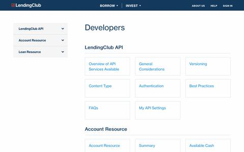Screenshot of Developers Page lendingclub.com - Developers    | Save with LendingClub - captured Nov. 15, 2017