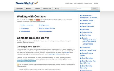 Screenshot of Developers Page constantcontact.com - Working with Contacts | Constant Contact Developer - captured Dec. 5, 2017