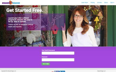 Screenshot of Signup Page rewarddragon.com - Sign up - captured Feb. 26, 2016
