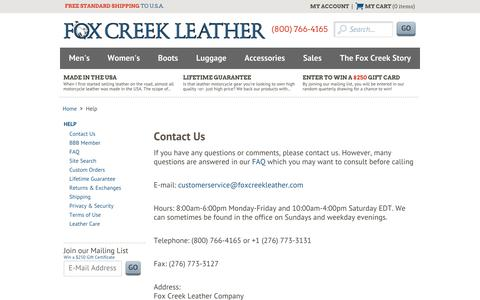 Screenshot of Privacy Page FAQ Page foxcreekleather.com - Contact Us – Fox Creek Leather | Fox Creek Leather - captured Oct. 29, 2014